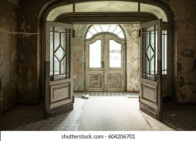 Inside view of a deserted run down building. Beauty view
