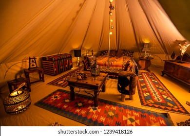 inside view with indian glamping tent