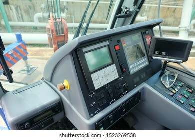 Inside view of the Mobile crane passenger cabin and control panel with LCD for building mobile crane or  truck crane.