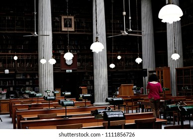 Inside view of the old historic National Library of Greece building in Athens, Greece on  April 23, 2016