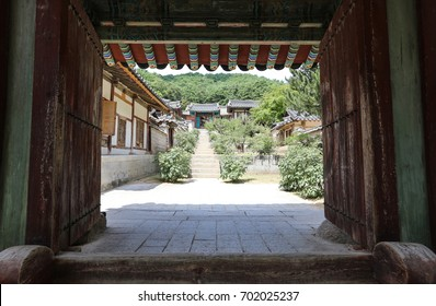 Inside view overlooking the front gate of Korean traditional house. Dosanseowon, Andong, Gyeongsangbuk-do.