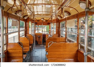 Inside view of the retro Tram. Historic Tram interior. Horizontal Photo Without People.