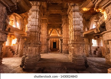 Inside view of Sas Bahu Temple, located at inside Gwalior fort, Gwalior, Madhya Pradesh, India.