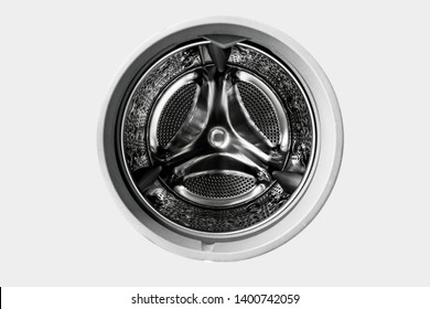 Inside the washing machine with clipping path