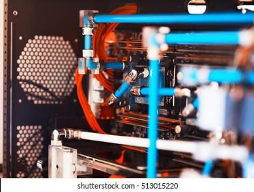 Inside water cooled high performance workstation bokeh backdrop