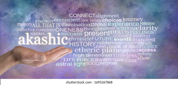 Insight into the Akashic Records Word Cloud - male open palm hand with the word AKASHIC above surrounded by a relevant tag cloud against a multicoloured celestial background