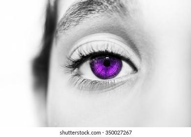 insightful look purple eyes