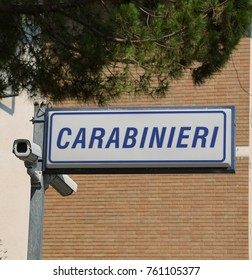 Insign of CARABINIERI station in italy that is a police force in the territory