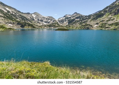 Insland in Popovo lake and Demirkapiya pass, Pirin Mountain, Bulgaria