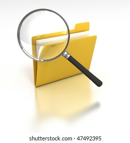 Inspecting Folder - Magnifying Glass inspects a folder