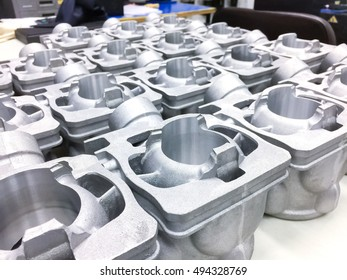 Inspection dimension aluminum automotive parts by CMM in factory
