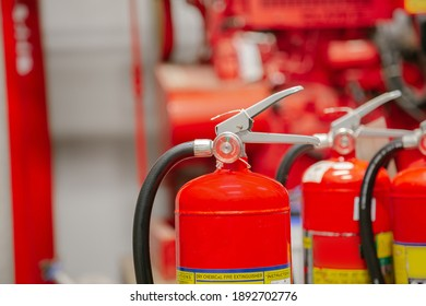 Inspection Fire extinguisher and fire hose,Ready to use in the event of a fire.Safety first concept.