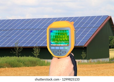 Inspection of a solar roof system with thermal imaging camera, p