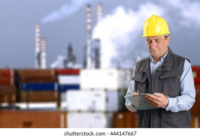 Inspector in chemical factory