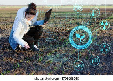 An inspector farmer with a laptop collects data on the field for subsequent analysis of plant growth and identify deficiencies to eliminate them. Increase Crop and Profit