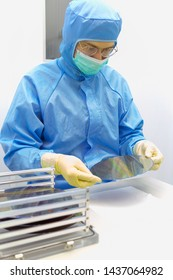 The inspector making incoming check the Silicon Wafers with chips take out from storagebox by hand in gloves in clear room.