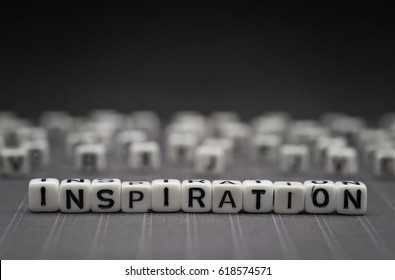 INSPIRATION, by alphabet beads with dark background