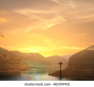 Inspiration concept: Mountain river landscape at sunset background.