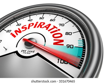 Inspiration level to hundred per cent conceptual meter, isolated on white background