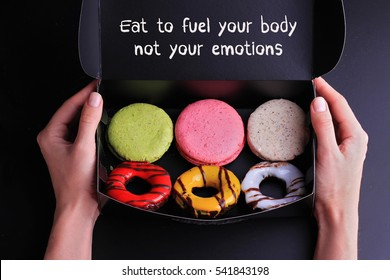 Inspiration motivation quotelet Eat to fuel your body not your emotions. Diet, Sport, Fitness, Mindfulness, Healthy lifestyle concept.