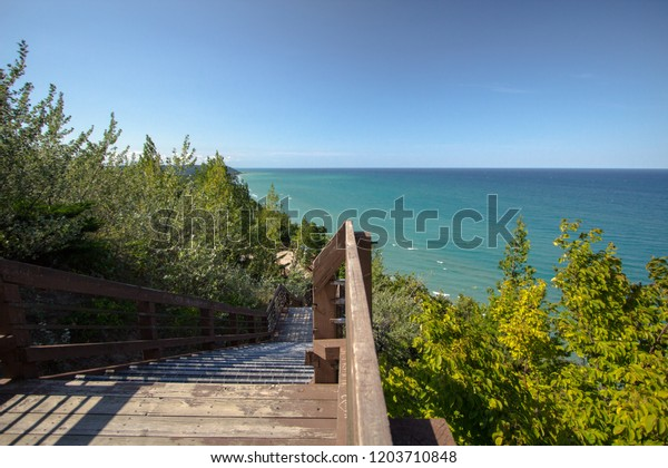Inspiration Point On Lake Michigan. Inspiration Point is located at a roadside park along highway M-22 in Arcadia, Michigan.
