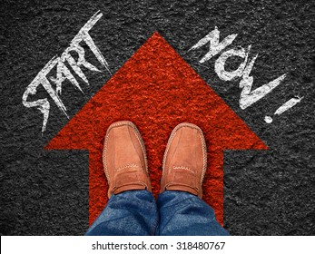 "Inspiration quote : "" Start now"" on aerial view of shoe on road with move forward blue arrow ,Motivational typographic."