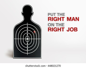 Inspiration quote,profile shape black dart at grey background with put the right man on the right job word ,Business motivation