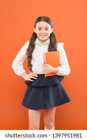 Inspiration for study. Back to school. Knowledge day. Possible everything. Schoolgirl enjoy study. Kid school uniform hold workbook. School lesson. Child doing homework. Your career path begins here.