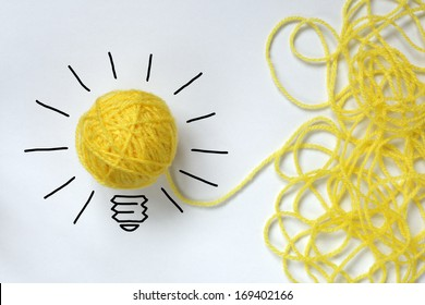 Inspiration wool light bulb metaphor for good idea