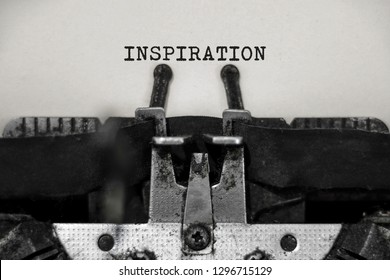 Inspiration word with black and white typewriter concept