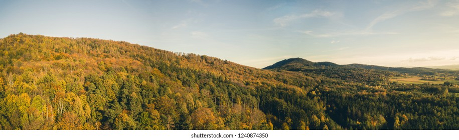 Inspirational aerial landscape, autumn forest and fields, drone point of view. Inspiring autumn season landscape panorama