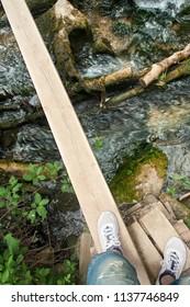 inspirational footbridge over taibilla river in spain