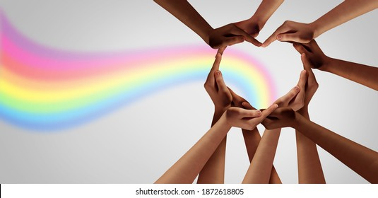 Inspirational idea unity and creative team for creativity thinking together as a diverse group of people together joining hands into the shape of a heart as an ideas concept.
