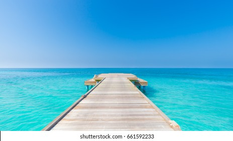 Inspirational image with beach background and copy space. Happiness and tranquility concept