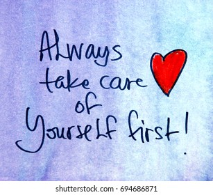 inspirational message always take care of yourself first