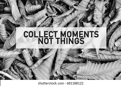 Inspirational motivating quote of collect moments not things on full frame dried leaves in black and white