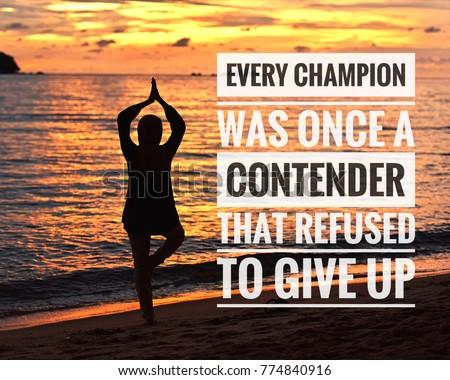 Inspirational Motivation Quotes On Sunset Background Stock Photo