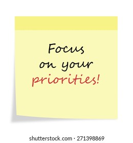 Inspirational Motivational Life Quotes on  Background Design. Focus on Your Priorities.