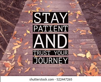 "Inspirational motivational quote ""stay patient and trust your journey"" on wooden walkway with autumn leaves background."