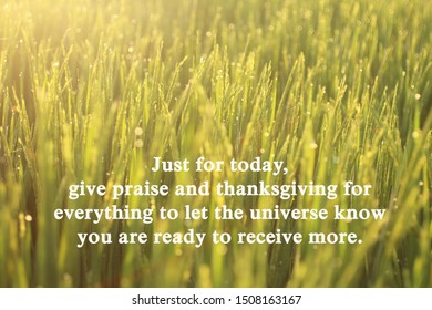 Inspirational motivational quote-Just for today, give praise and thanksgiving for everything to let the universe know you are ready to receive more. With morning sunrise light over the field meadow.