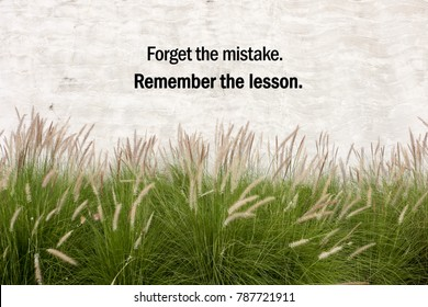 "Inspirational positive quote "" Forget the mistake, Remember the lesson"" on  cement background and grass flower background."