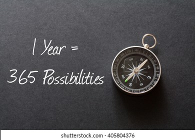 Inspirational quote : 1 Year = 365 Possibilities ,on black background with compass
