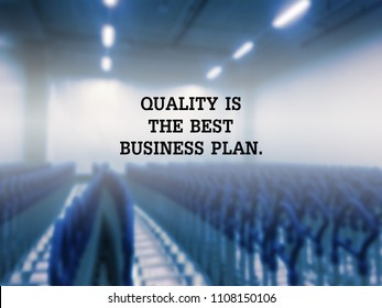 Inspirational quote about business on blurred background.