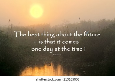 Inspirational quote about life and time by Abraham Lincoln with a beautiful sunrise in the background