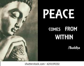 Inspirational quote of Buddha with white text on black background and image of Buddha.
