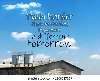 Inspirational quote on blurred background.