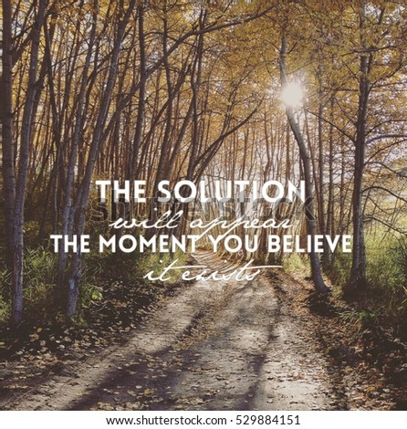 Inspirational Quote On Forest Landscape Sunshine Stock
