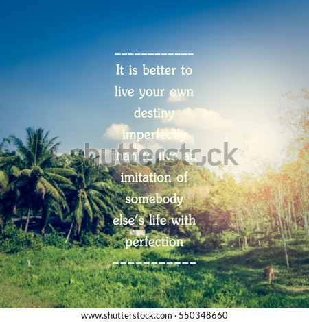 Inspirational Quote On Landscape Field Village Stock Photo Edit Now