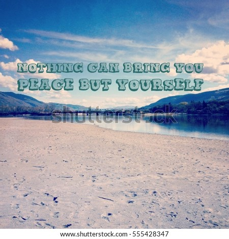 Inspirational Quote On Sky Scenic Landscape Stock Photo Edit Now