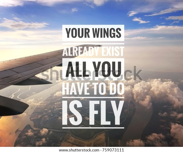 inspirational quote view airplane window sunset backgrounds